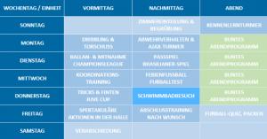 Programm im Fußballcamp