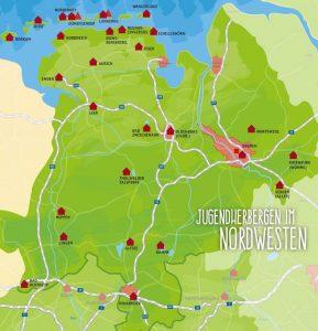 Nordsee Karte Niedersachsen.Feriencamps Fur Kinder Der Jugendherbergen Zw Nordsee Und